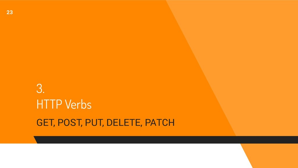 3. HTTP Verbs GET, POST, PUT, DELETE, PATCH 23