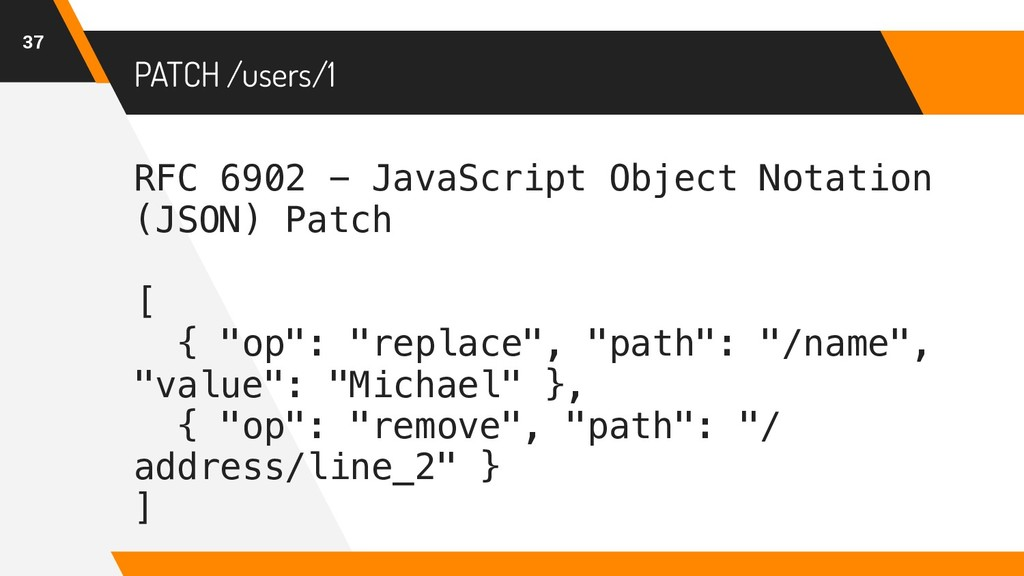PATCH /users/1 37 RFC 6902 - JavaScript Object ...