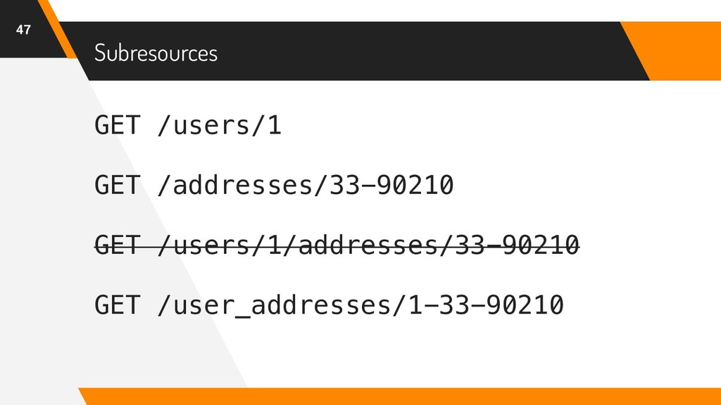 GET /users/1 GET /addresses/33-90210 GET /users...