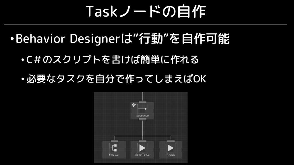 "Taskノードの自作 •Behavior Designerは""行動""を自作可能 • C#のスク..."