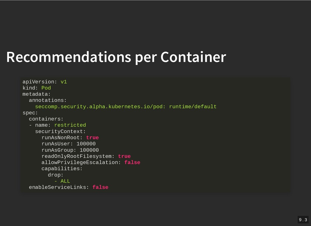 / Recommendations per Container Recommendations...