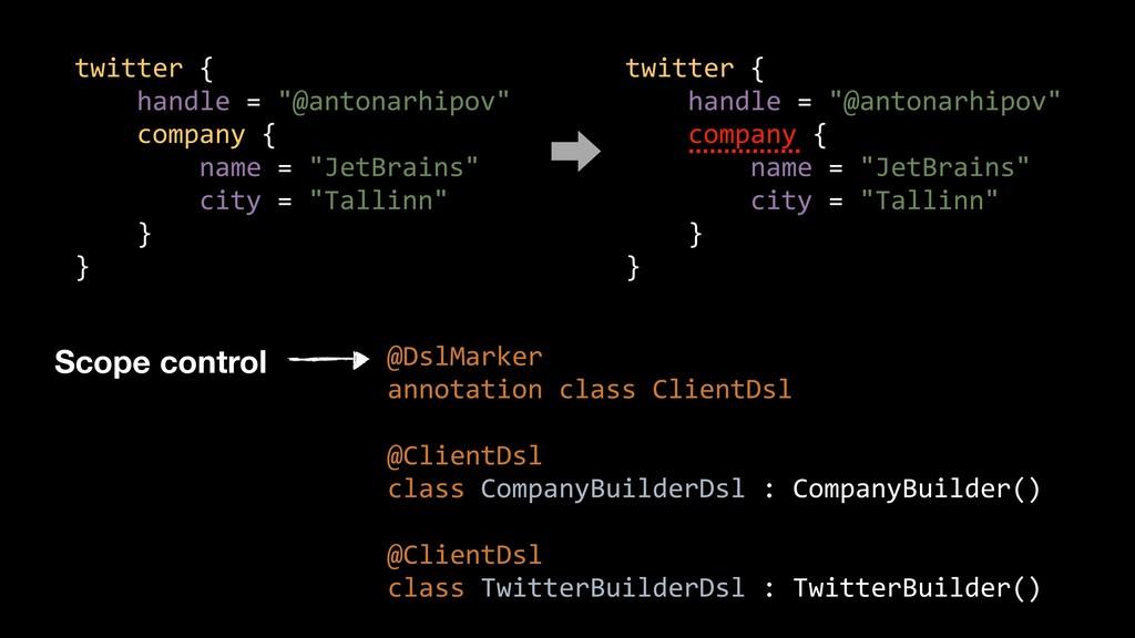 "twitter { handle = ""@antonarhipov"" company { na..."