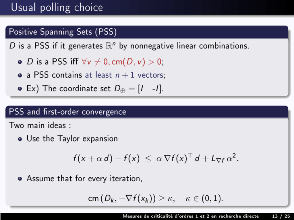 Usual polling choice Positive Spanning Sets (PS...