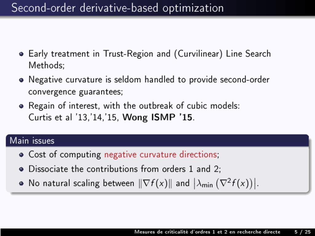 Second-order derivative-based optimization Earl...