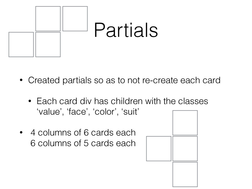 Partials • Created partials so as to not re-cre...