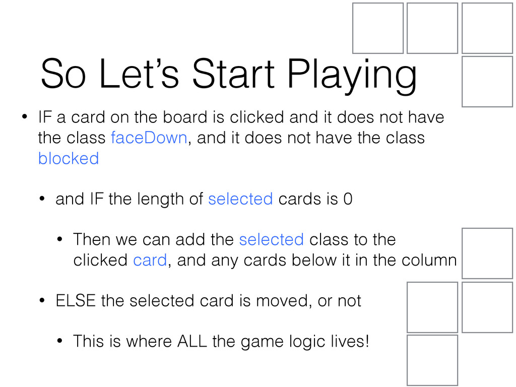 • IF a card on the board is clicked and it does...