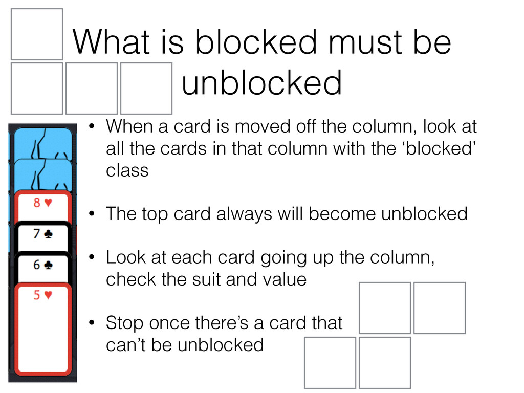 What is blocked must be unblocked • When a card...