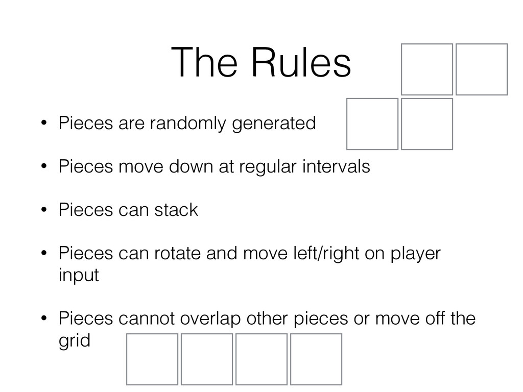 The Rules • Pieces are randomly generated • Pie...