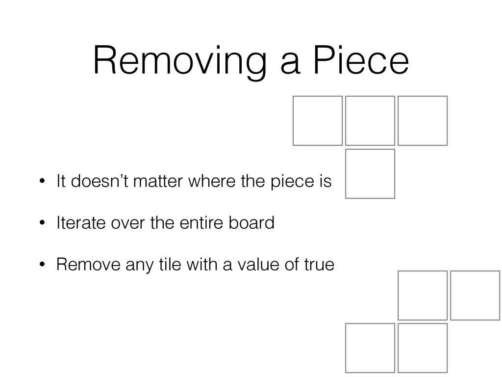 Removing a Piece • It doesn't matter where the ...