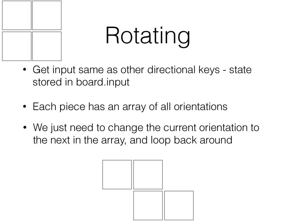 Rotating • Get input same as other directional ...
