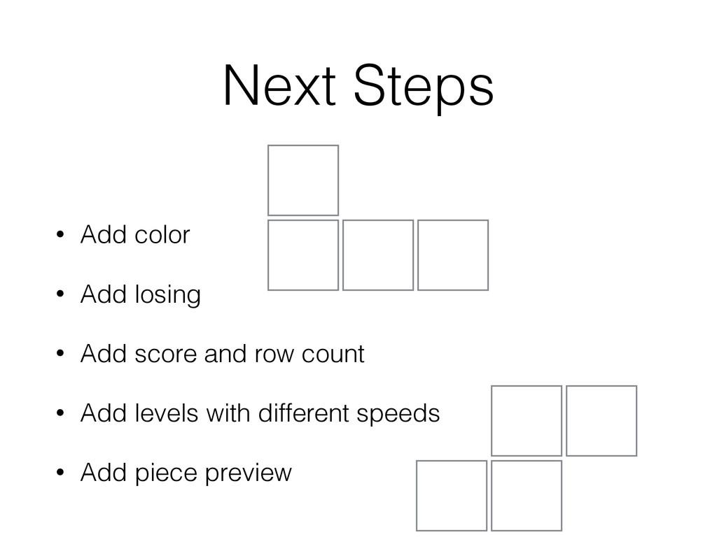 Next Steps • Add color • Add losing • Add score...