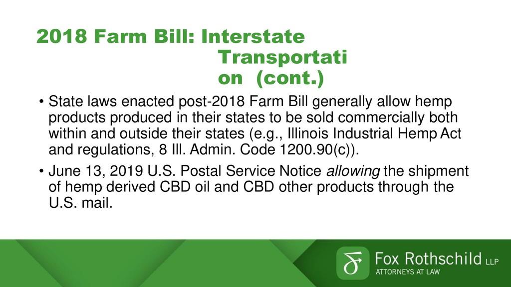 2018 Farm Bill: Interstate Transportati on (con...
