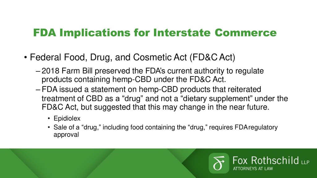 FDA Implications for Interstate Commerce • Fede...