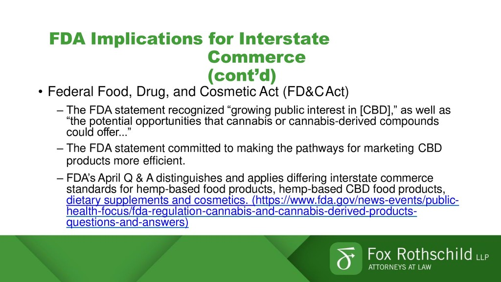 FDA Implications for Interstate Commerce (cont'...