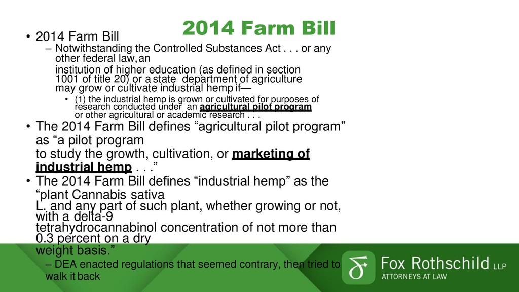 2014 Farm Bill • 2014 Farm Bill – Notwithstandi...