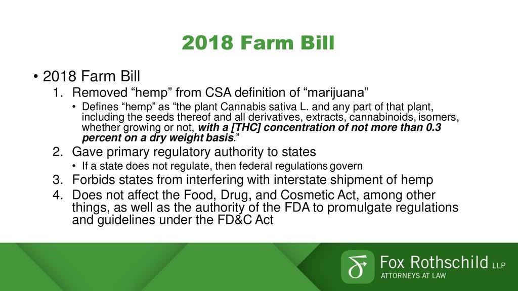 "2018 Farm Bill • 2018 Farm Bill 1. Removed ""hem..."