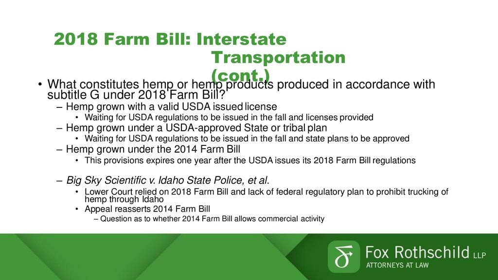 2018 Farm Bill: Interstate Transportation (cont...