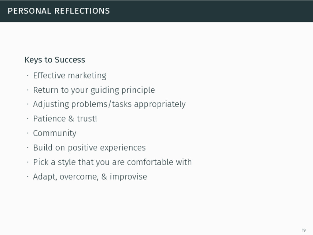 personal reflections Keys to Success ∙ Effectiv...