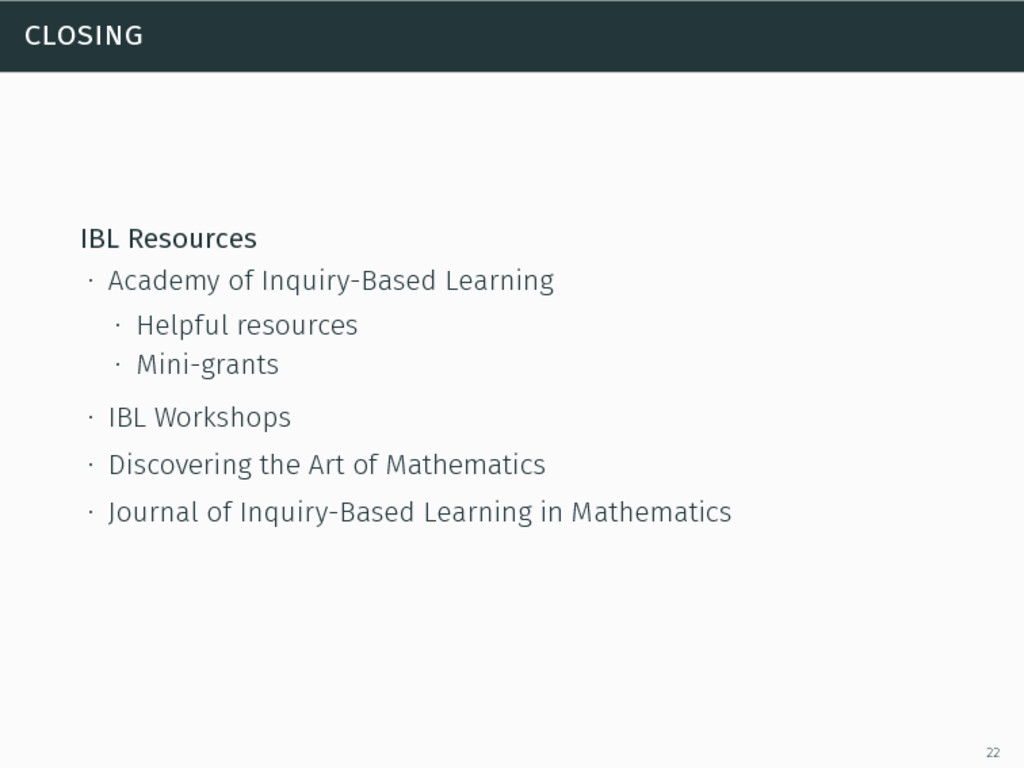 closing IBL Resources ∙ Academy of Inquiry-Base...