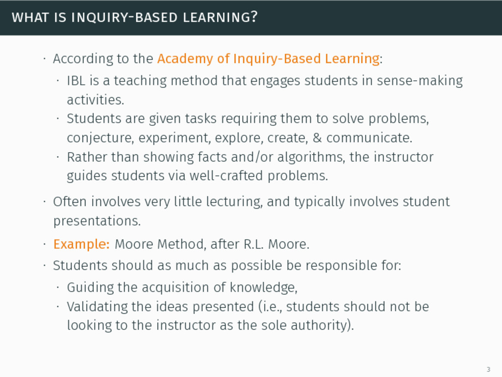 what is inquiry-based learning? ∙ According to ...