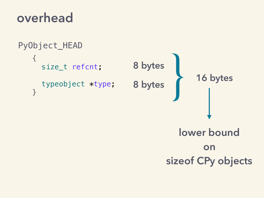 overhead { size_t refcnt; typeobject *type; } 8...