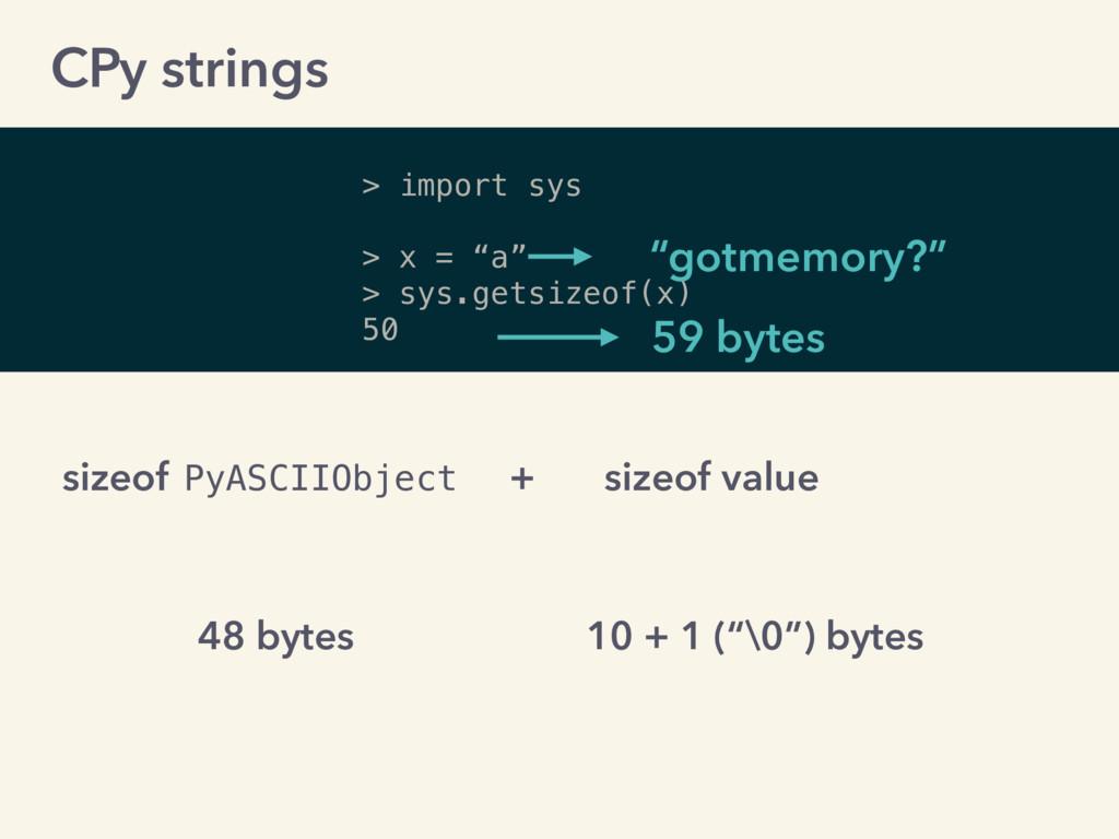 "> import sys > x = ""a"" > sys.getsizeof(x) 50 ""g..."