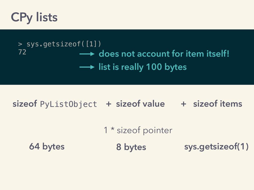 > sys.getsizeof([1]) 72 PyListObject sizeof + s...