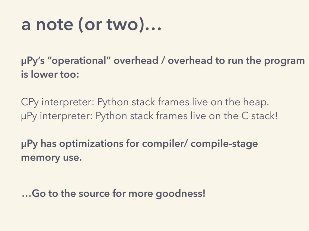 """a note (or two)… µPy's """"operational"""" overhead /..."""
