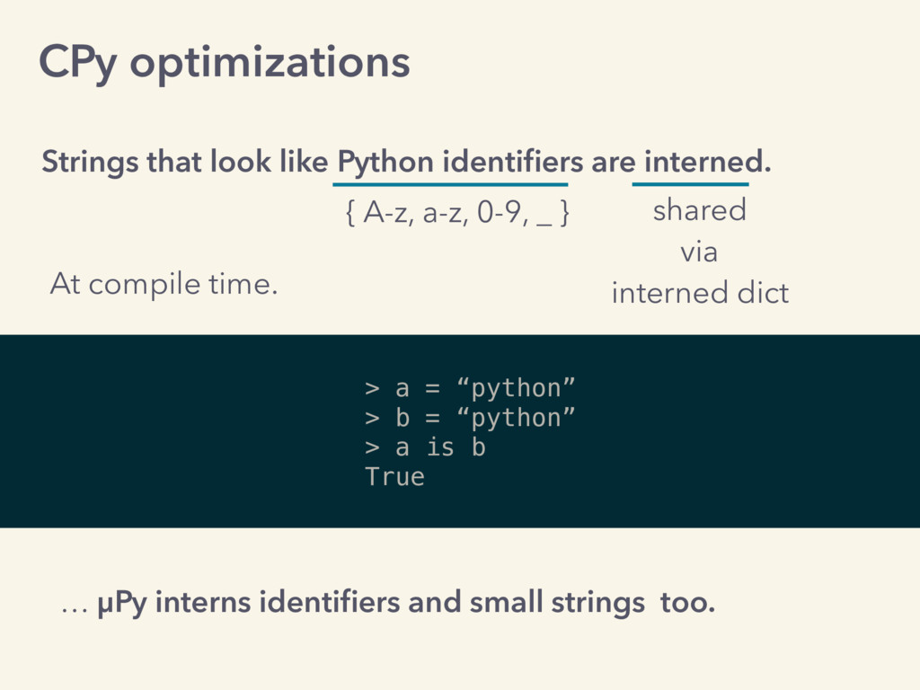 CPy optimizations Strings that look like Python...