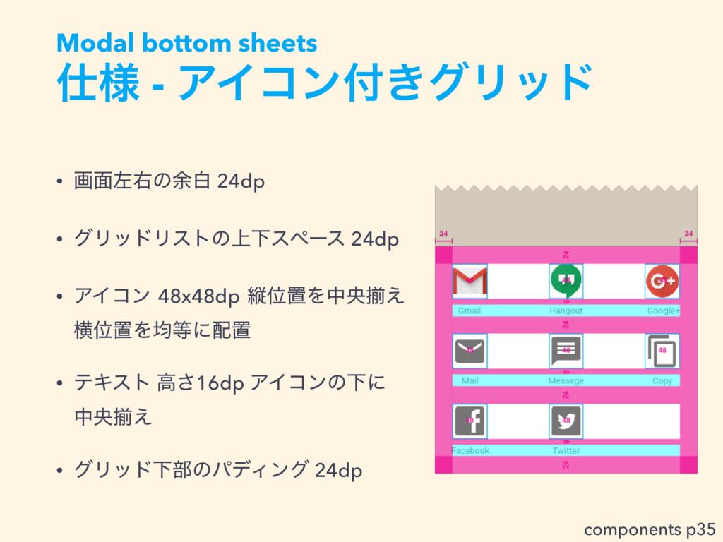 ༷ - ΞΠίϯ͖άϦου Modal bottom sheets • ը໘ࠨӈͷ༨ന 2...