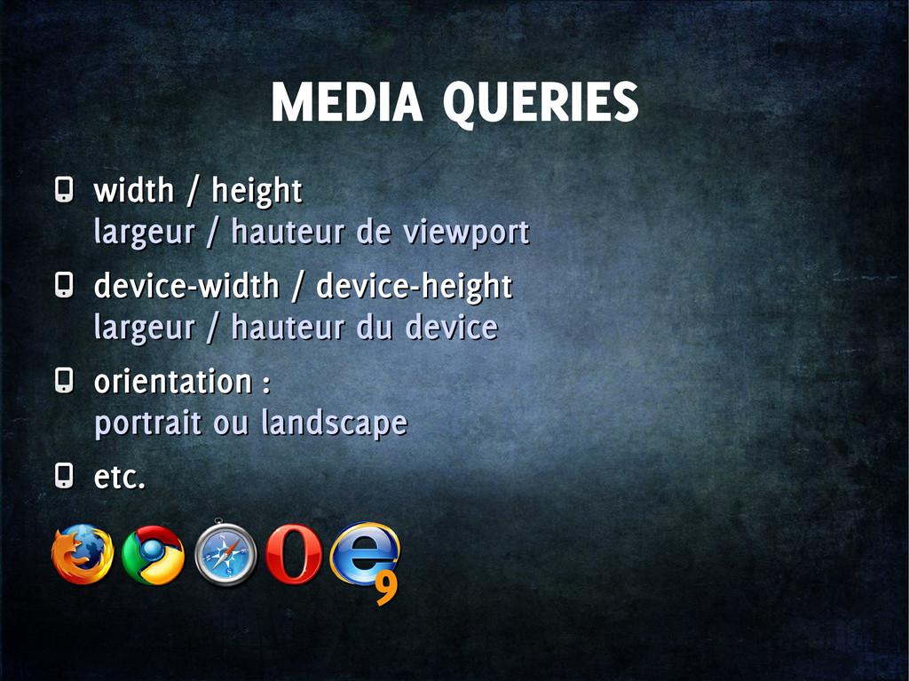 MEDIA QUERIES width / height largeur / hauteur ...