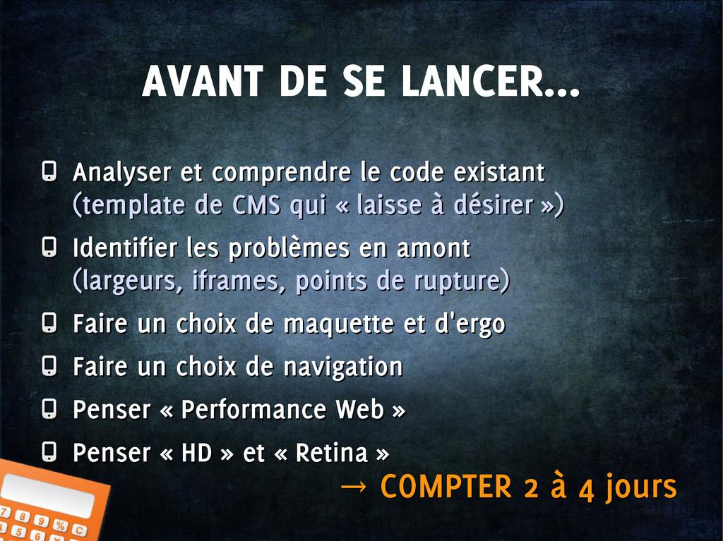 AVANT DE SE LANCER... Analyser et comprendre le...