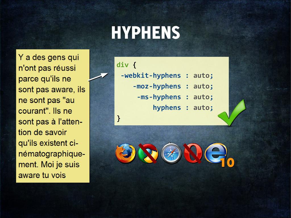 HYPHENS div { -webkit-hyphens : auto; -moz-hyph...