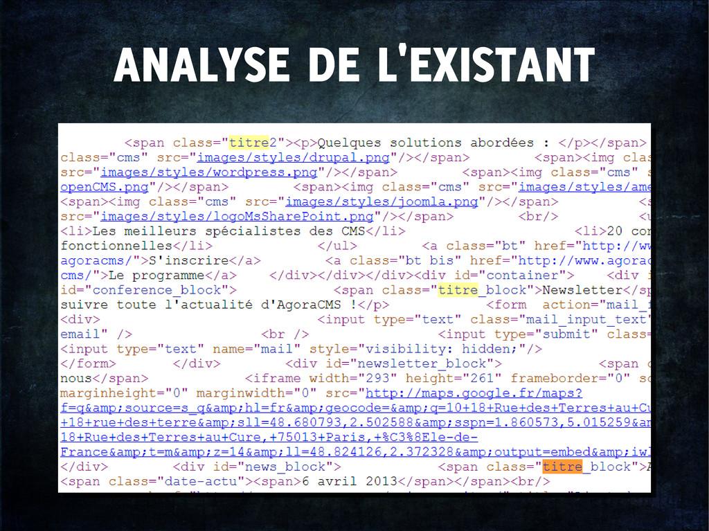ANALYSE DE L'EXISTANT