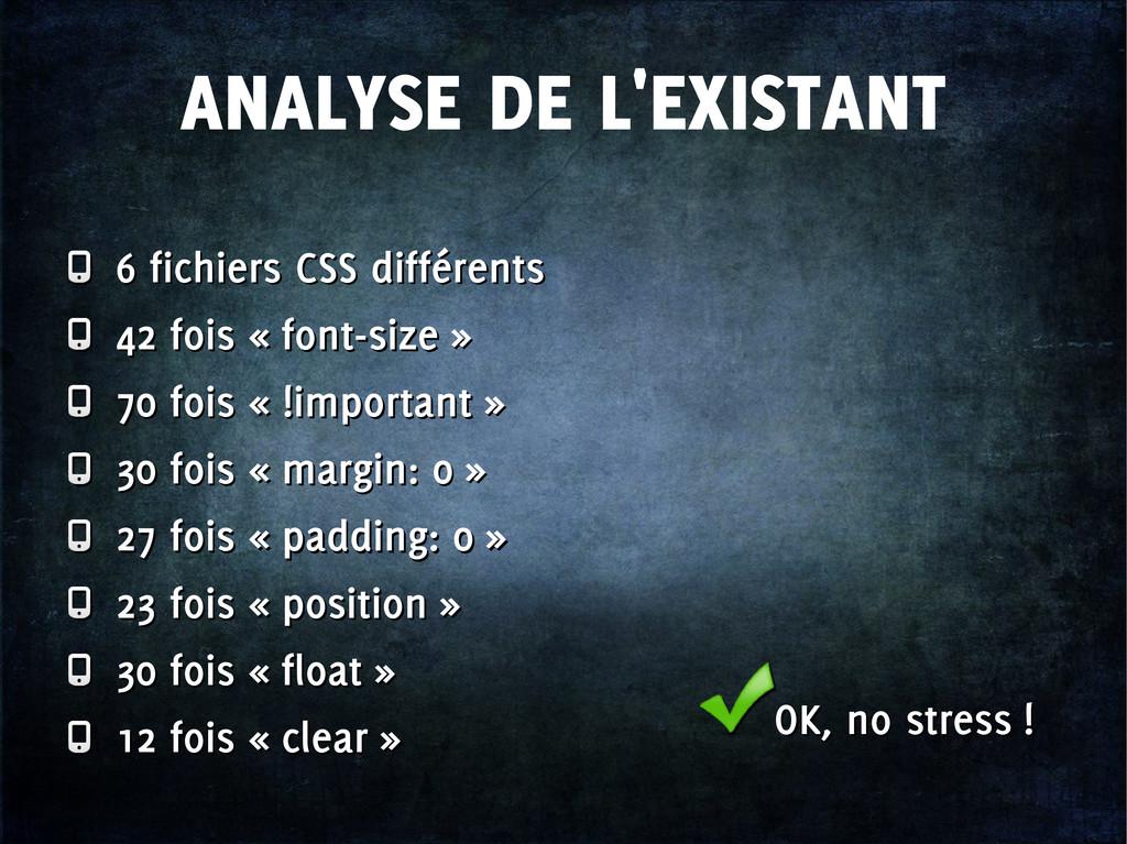 ANALYSE DE L'EXISTANT 6 fichiers CSS différents...