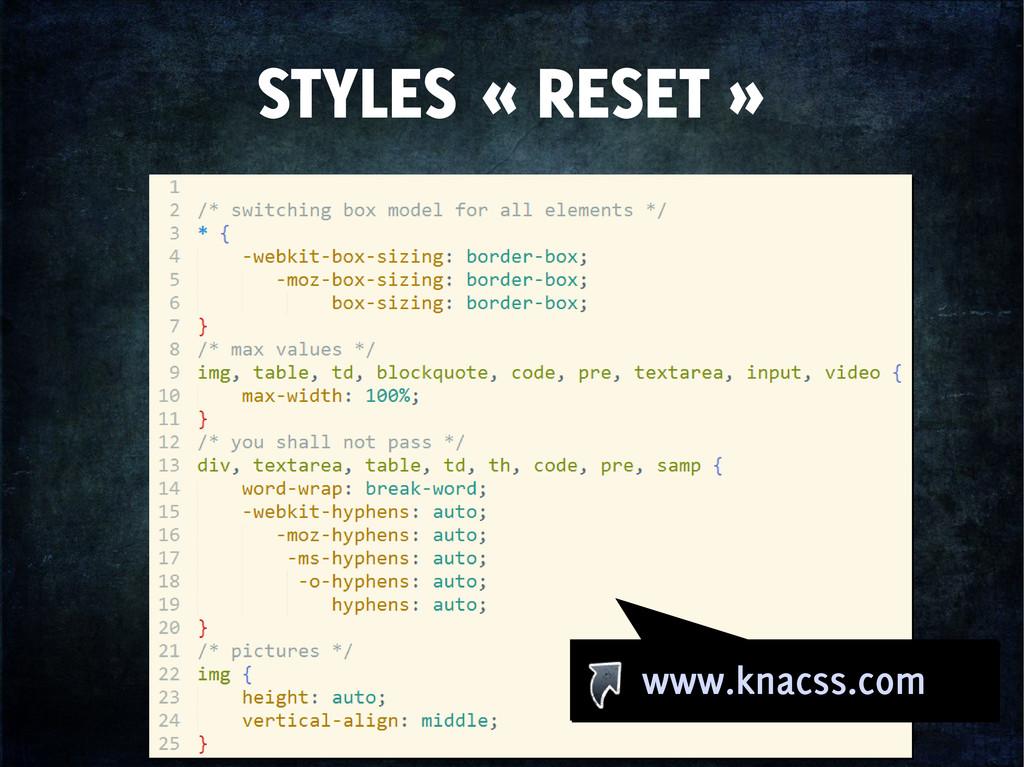 STYLES « RESET » www.knacss.com www.knacss.com