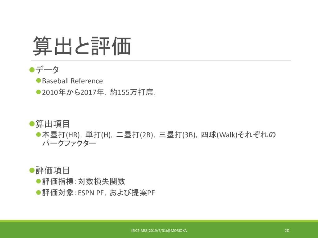 算出と評価 データ Baseball Reference 2010年から2017年.約1...