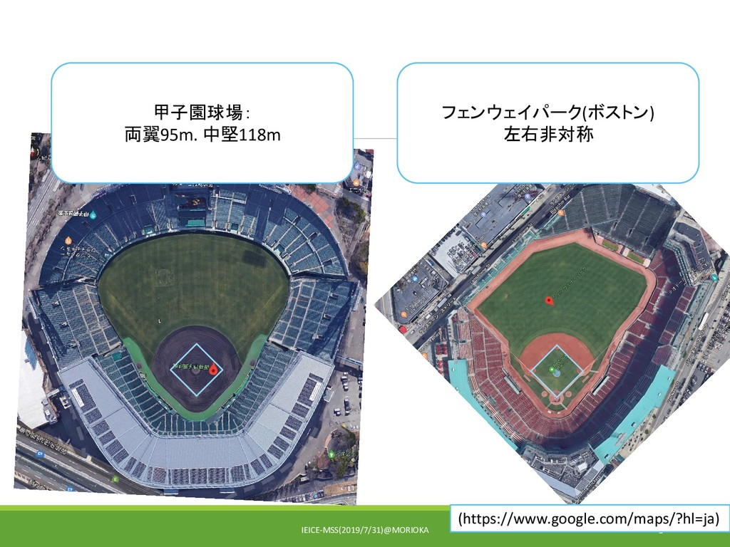 IEICE-MSS(2019/7/31)@MORIOKA 5 甲子園球場: 両翼95m. 中堅...