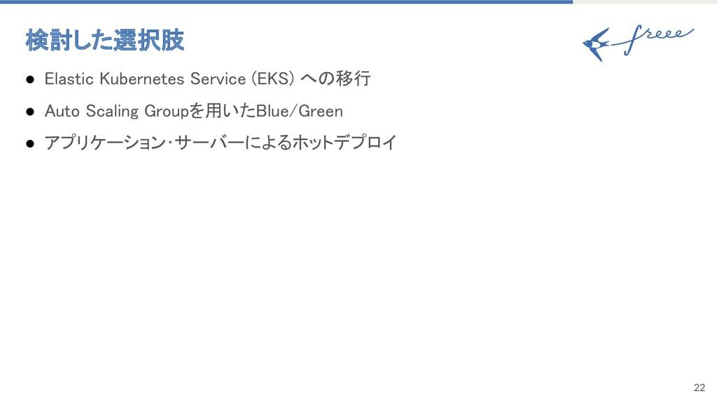 検討した選択肢 22 ● Elastic Kubernetes Service (EKS) ...