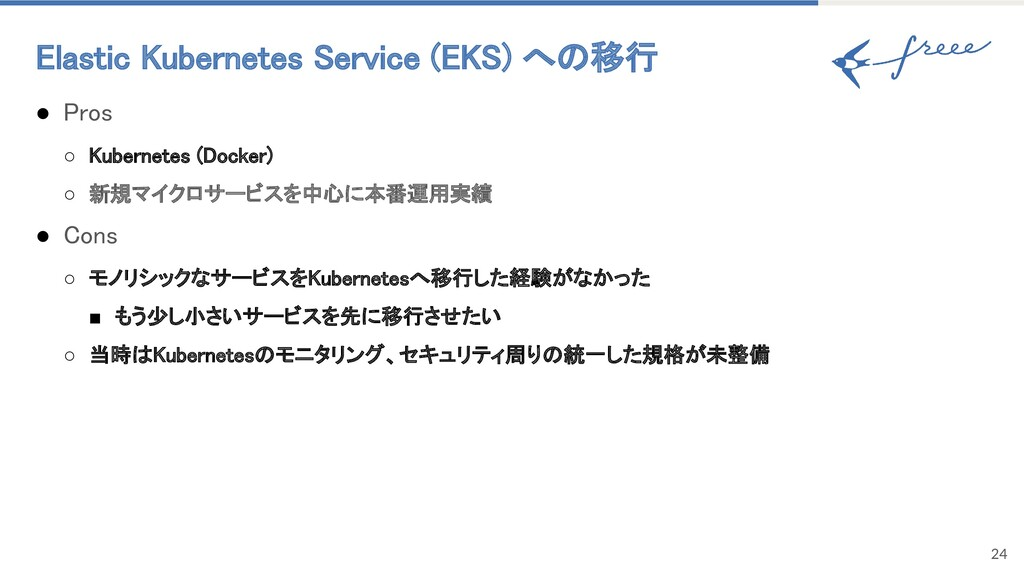 Elastic Kubernetes Service (EKS) への移行 24 ● Pro...