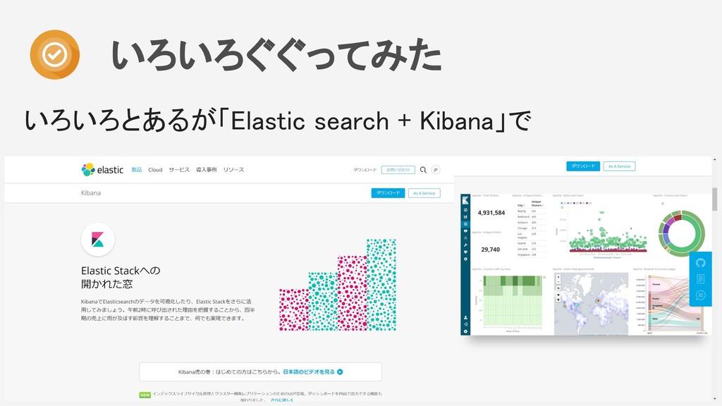 いろいろぐぐってみた いろいろとあるが「Elastic search + Kibana」で
