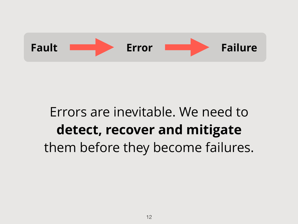 Fault Error Failure Errors are inevitable. We n...