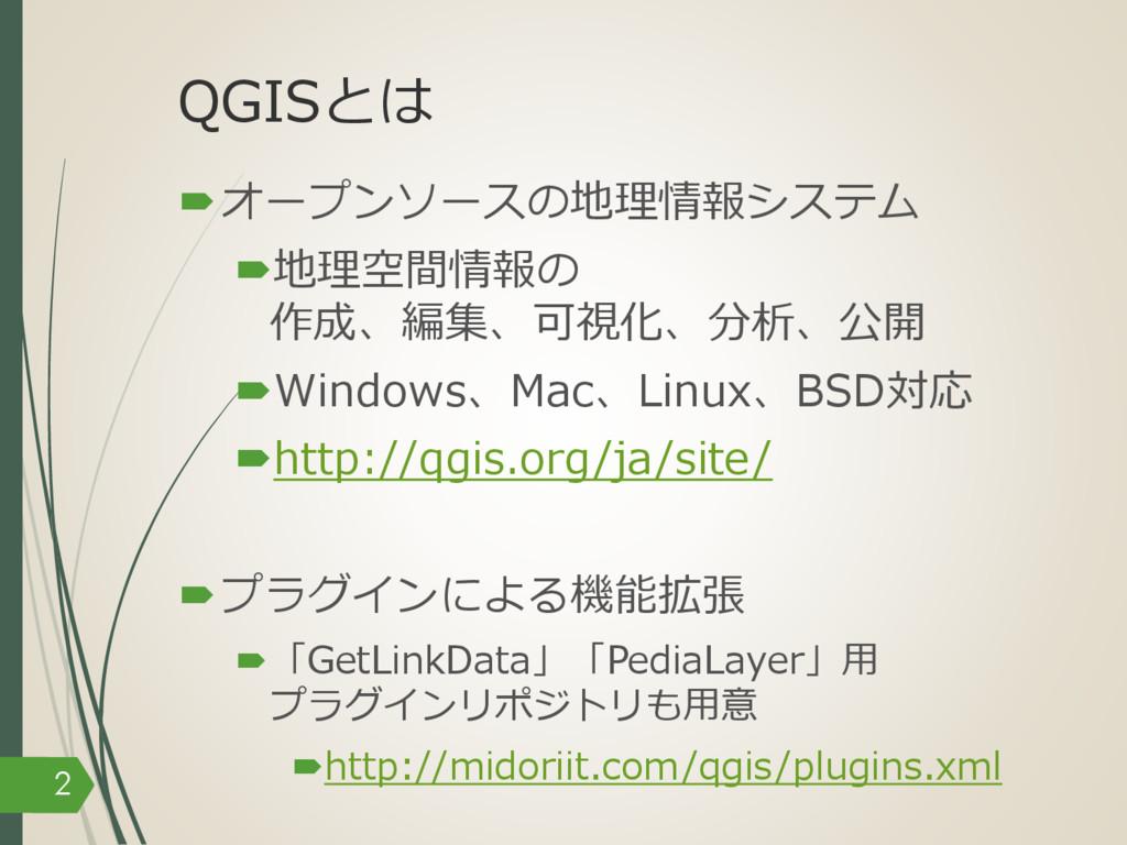 QGISとは –オープンソースの地理情報システム –地理空間情報の 作成、編集、可視化、分析、...