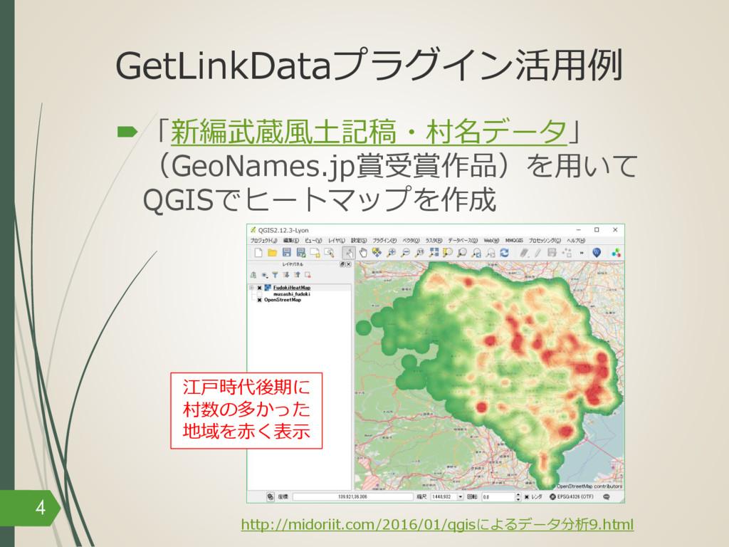 GetLinkDataプラグイン活⽤例 –「新編武蔵⾵⼟記稿・村名データ」 (GeoNames...