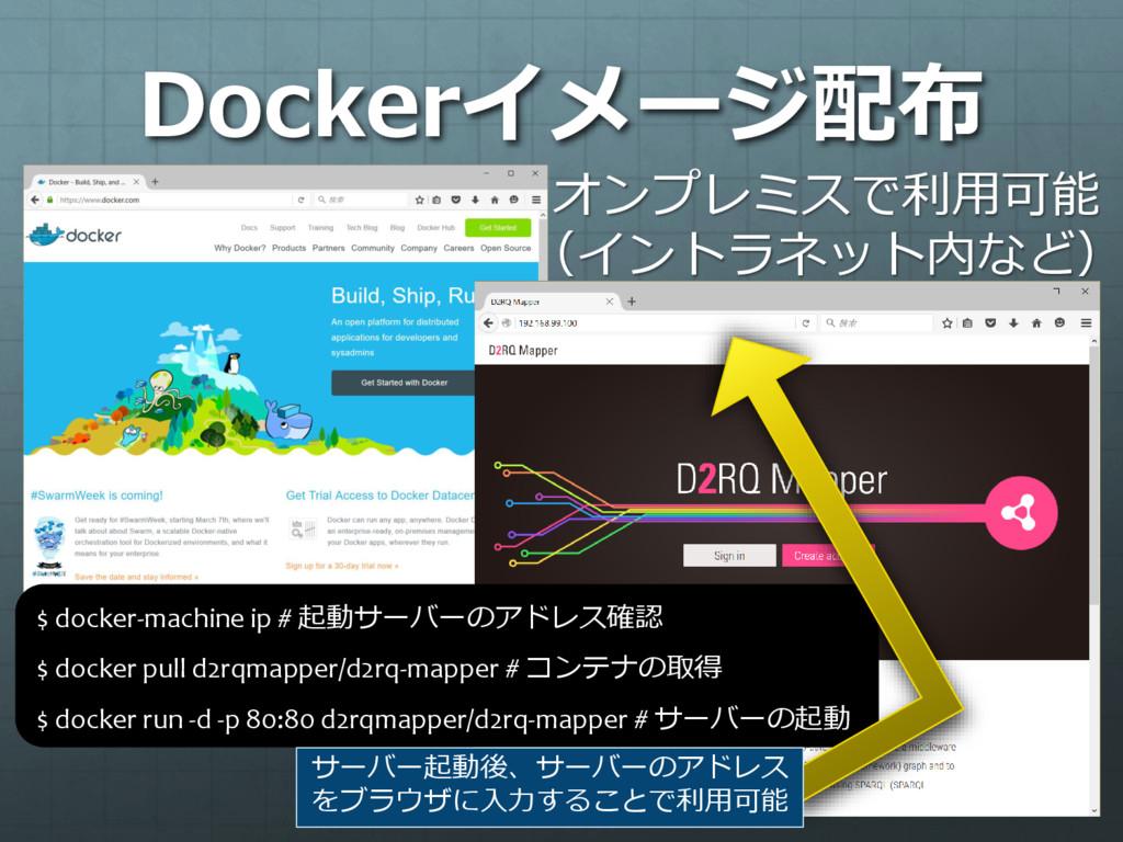 Dockerイメージ配布 $ docker-machine ip # 起動サーバーのアドレス確...