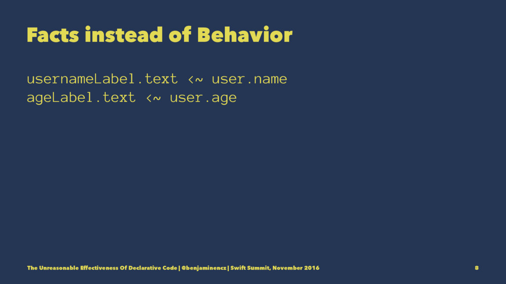 Facts instead of Behavior usernameLabel.text <~...