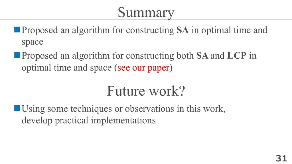 Summary nProposed an algorithm for constructing...