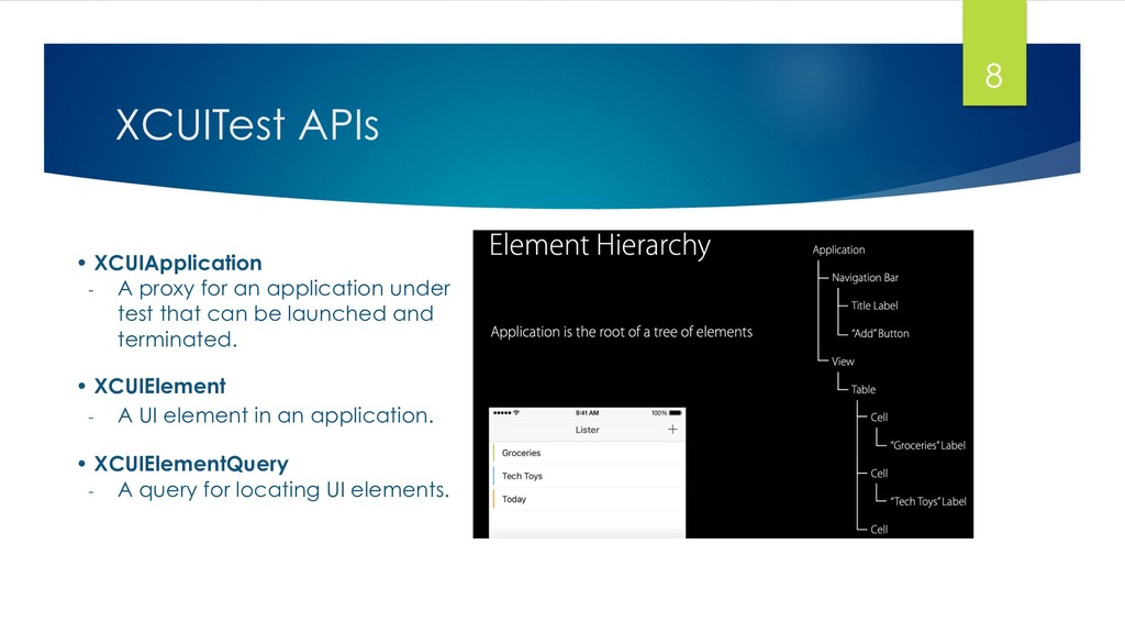 XCUITest APIs 8 • XCUIApplication - A proxy fo...