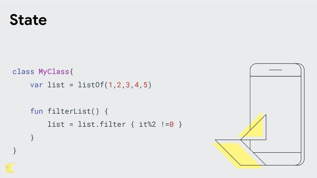 State class MyClass{ var list = listOf(1,2,3,4,...