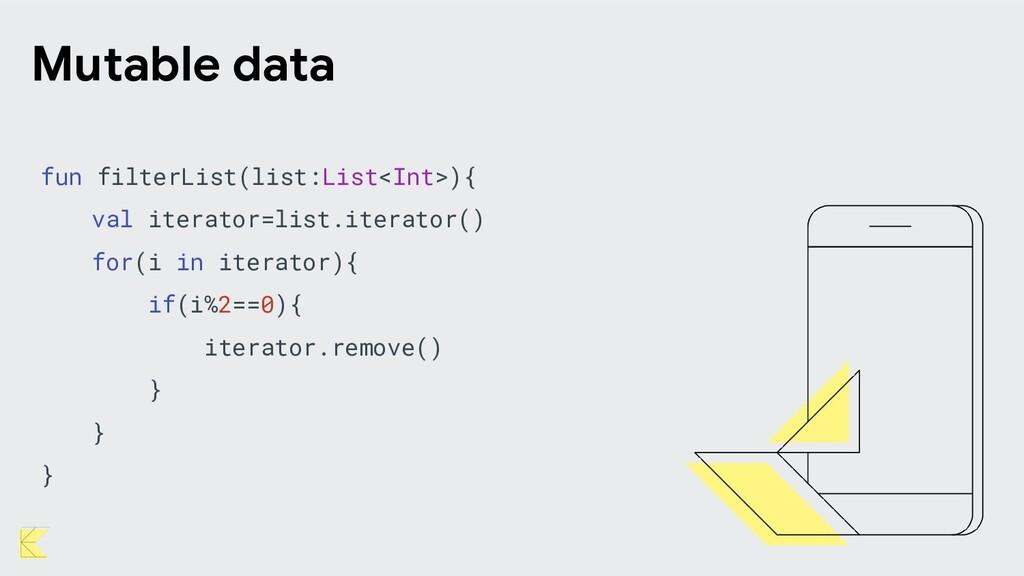 Mutable data fun filterList(list:List<Int>){ va...